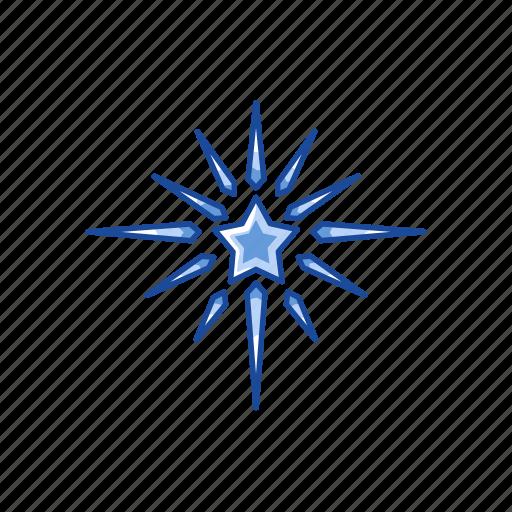 glow, light, north star, snow flakes, star icon