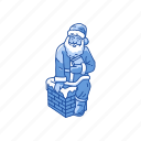chimney, presents, santa claus, santa on chimney icon