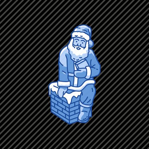chimney, presents, santa claus, santa on chimney icon