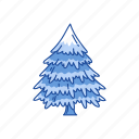 decoration, pine tree, santa on chimney, tree icon