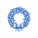 christmas, decoration, ribbon, wreath icon