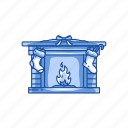 chimney, fire, fire place, gifts icon