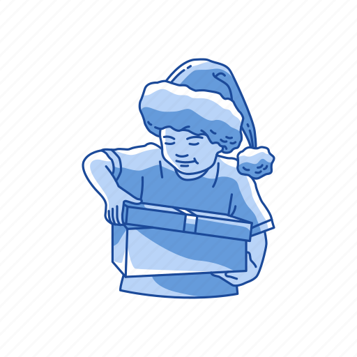 gifts, kid, present, santa hat icon