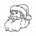 beard, christmas hat, face, gifts, santa, santa claus, smiling santa icon