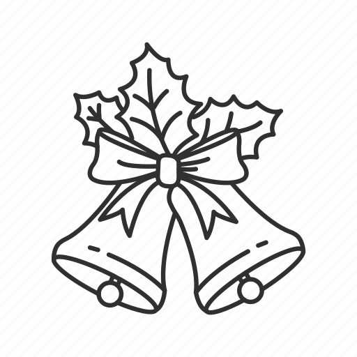 bells, christmas, christmas bells, decoration, mistletoe, ornament, ribbon icon