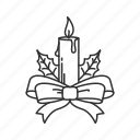 candle, christmas, christmas candle, christmas dinner, dinner, mistletoe, ribbon icon