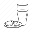 breakfast, christmas, cookies, cookies and milk, holiday, milk, morning icon