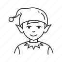 boy, christmas, christmas elf, cute, elf, holiday, yuletide icon
