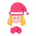 christmas, cold, girl, glove, hat, pretty, santa icon