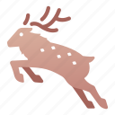 antler, christmas, jump, reindeer, animal, deer icon