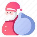 bag, christmas, claus, gift, hat, santa icon