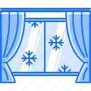 christmas, curtain, snow, snowflake, window, winter icon