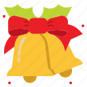 bell, celebrations, christmas, ribbon icon