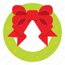 christmas, decoration, ribbon, wreath icon