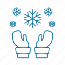 christmas, gloves, snow, wear, winter icon