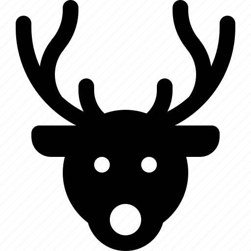 christmas, deer, head, horn, reindeer, rudolph icon