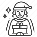 christmas, elf, present, xmas icon