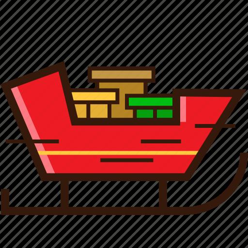 cart, christmas icon, prize, santa cart, santa gift icon