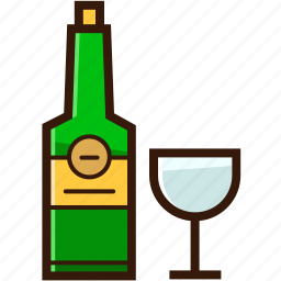 alcohol, beverages, bottle and glass, christmas icon, wine icon