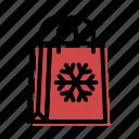 bag, christmas, holiday, shopping, snowflake, xmas icon