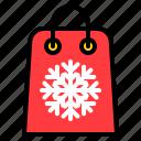 sell, snowflake, tag, xmas icon