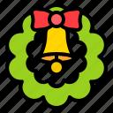 bell, decoration, wreath, xmas icon