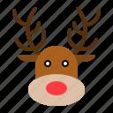 animal, avatar, christmas, face, reindeer