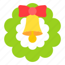 bell, christmas, decoration, wreath icon