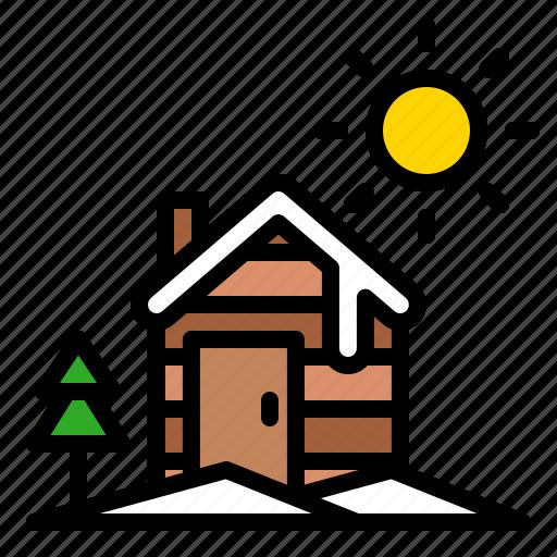 cottage, house, landscape, winter, xmas icon
