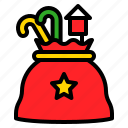 bag, candy cane, santa bag, toy, xmas icon