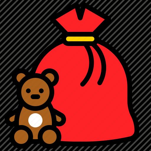 doll, gift, gift bag, present bag, xmas icon