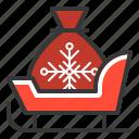 christmas, sack, santa, sleigh, xmas icon