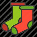 christmas, clothing, fashion, socks, xmas icon