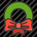 christmas, ornament, wreath, xmas icon