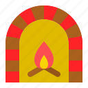 chimney, christmas, fireplace, household, warm icon