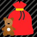 christmas, doll, gift, gift bag, present bag icon