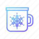 christmas, coffee, cup, mug, snow, snowflake, winter icon
