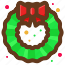 christmas, leaves, santa, wreath icon