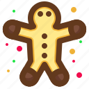 christmas, gingerbread, santa, snack icon