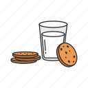 cookie and milk, cookies, milk, snack icon