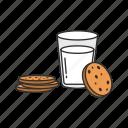 cookie and milk, cookies, milk, snack icon