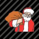 gift, gift bag, santa claus, santa's gift icon