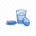 breakfast, cookies, cookies and milk, milk icon