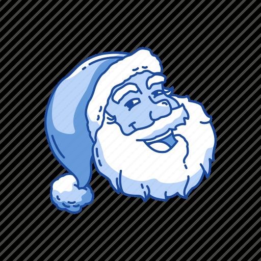 christmas, old man, santa claus, santa's hat icon