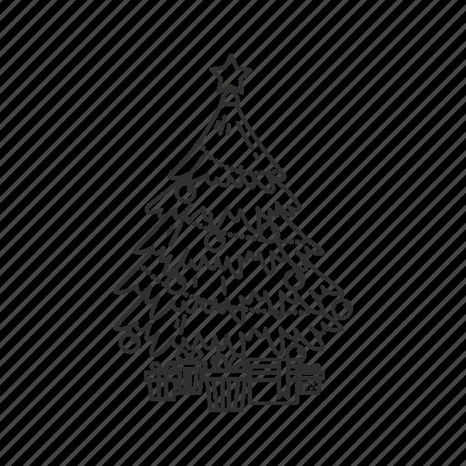 christmas, christmas tree, decoration, gifts, holiday, presents, santa claus icon