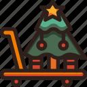 cart, christmas, holidays, newyear, on, shopping, tree icon