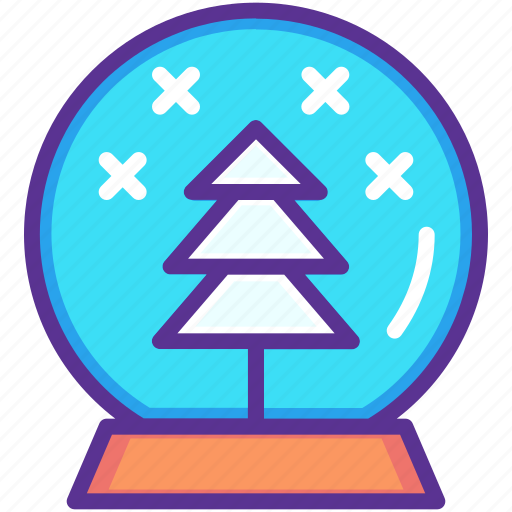 ball, christmas, crystal, gift, present, snow, tree icon