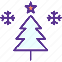 christmas, decoration, snow, snowflake, star, tree, winter icon