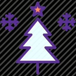 christmas, decoration, snow, snowflake, star, tree, winter icon
