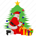 full santa claus, gift, santa, santa claus, tree icon